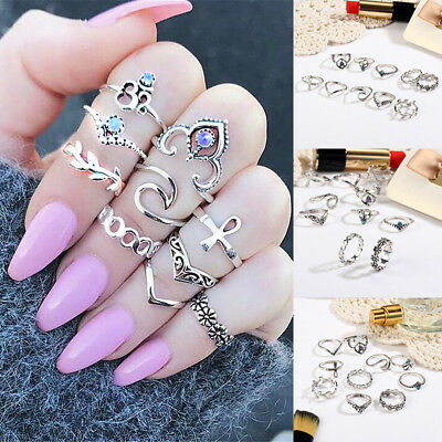 10 pcs /set  Different types of beautiful personality twisted alloy rings