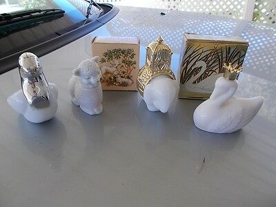 vintage avon milky white bottles,royal elephant,love bird,royal swan,little lamb