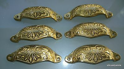 """6 cast engraved solid brass heavy shell shape pulls handle kitchen POLISH 4"""" B"""