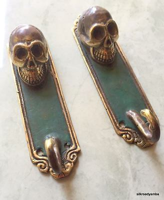 """2 SKULL HOOKS small spine BRASS old vintage style antique green 5 """" long"""