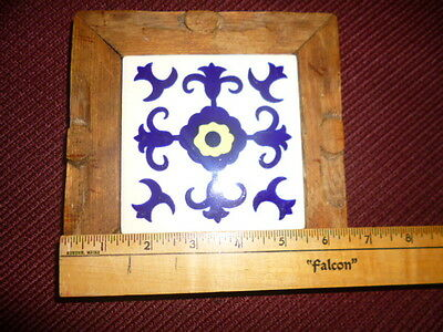 MEXICAN Monterrey TILE TRIVET/PLANT STAND w/Hand-carved WOOD, Cobalt Blue/White