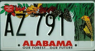 "ALABAMA license plate ""AZ791"" ***MINT***""OUR FOREST...OUR FUTURE""***"