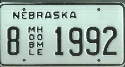 "NEBRASKA ***MINT*** ""1992"" license plate"
