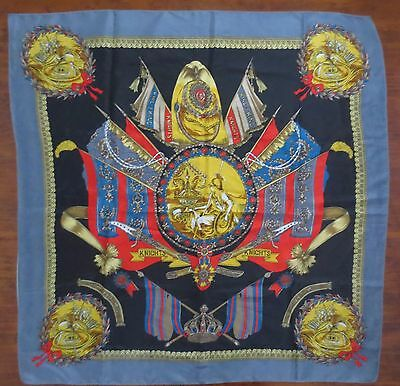 """Very large """"knights and emblems"""" multi-coloured satiny vintage scarf"""
