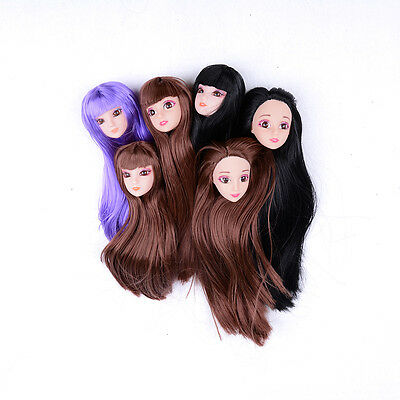 3D Eyes Supersize Doll Head With Long Colorized Stright Hair Doll UQ