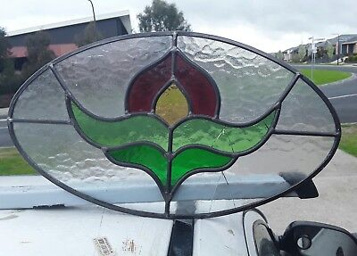 leadlight, one panel available, no loose joints, 2 cracks, 230 high x 400 wide