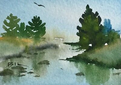 ACEO Original Art Watercolour Painting by Bill Lupton - Winding River