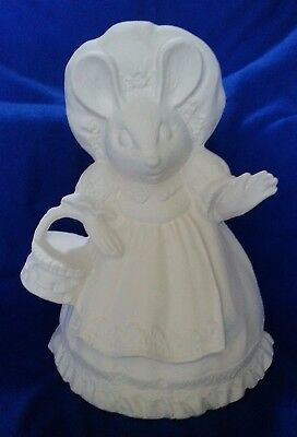 ceramic bisque Mouse with bunny slippers. 240mm approx. Ready to paint or glaze.