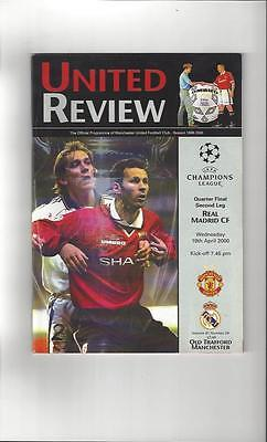 Manchester United v Real Madrid Champions League Programme 1999/00