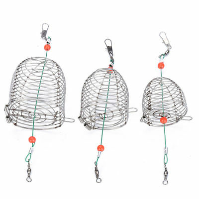 3 Size Lure Bait Cage Fishing Trap Basket Feeder Holders Stainless Steel Wire