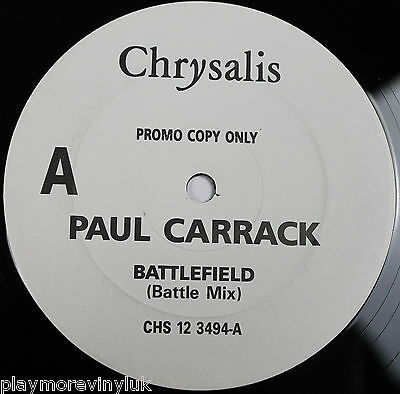 "PAUL CARRACK Battlefield 12"" vinyl PROMO UK Chrysalis   Mike & The Mechanics"