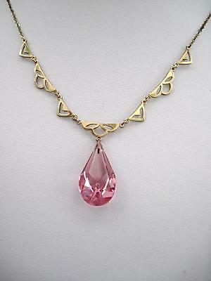Edwardian/Deco Pink Crystal Drop Necklace - Rolled Gold & GP