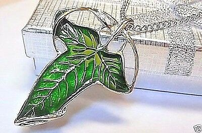 Lord Of The Rings Elven Brooch Necklace Leaves of Lothlorien, W/Gift Box!