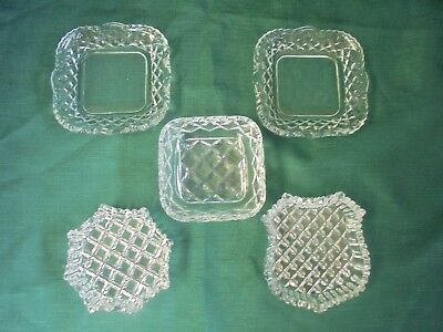 3 Crystal & 2 Matching Glass-Crystal Cut Dressing Table Trays