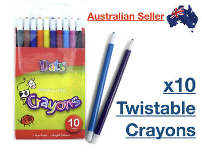 x10 Pack Crayon Propelling Zoom Twist Crayons Twistable Set Twisted Colours NEW