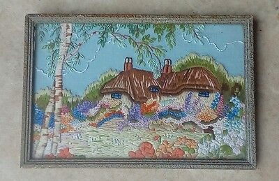 Small Fine Antique Embroidery Country Cottage Scene Framed, Glazed
