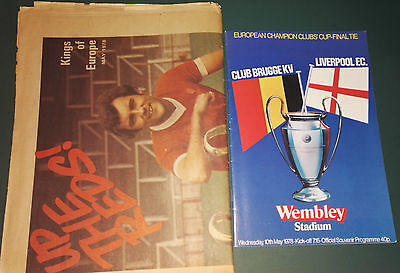1978 EUROPEAN CUP FINAL NEWSPAPER & PROGRAMME. LIVERPOOL vs. BRUGGE AT WEMBLEY