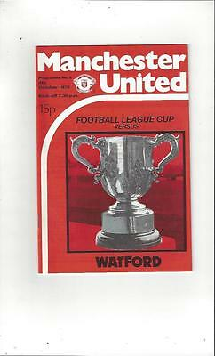 Manchester United v Watford League Cup 1978/79 Football Programme