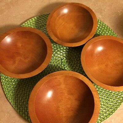 Mid Century Baribocraft Set of 4 Maple Salad Snack Nut Bowls Canada 70's
