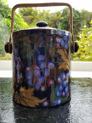 """Art Deco, Royal Stanley Ware, """"Jacobean"""" Biscuit Barrel With Bamboo Handle."""