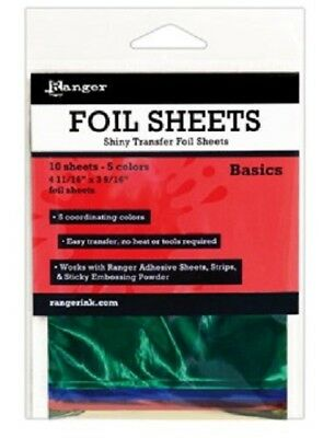 RANGER Shiny Transfer Foil Sheets BASICS 10 Sheets x 5 Colours Aprox ISF40552