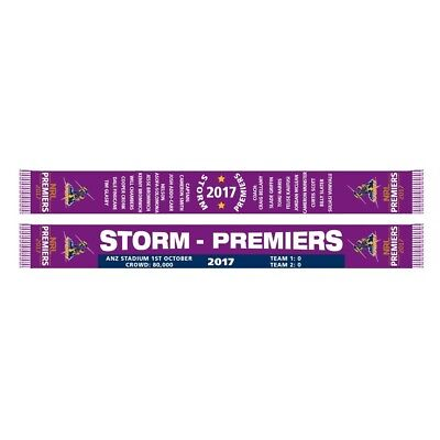 Melbourne Storm NRL 2017 Premiers Scarf with score!  In Stock!