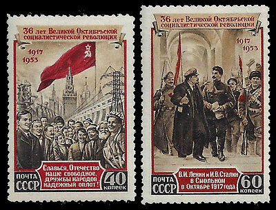 RUSSIA. October Revolution. 1953. Scott 1676-1677. MNH