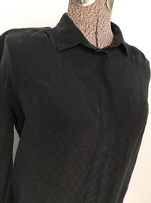 Vintage Valentino Blouse Jack Mulqueen Black 8 Silk Button Down Long Sleeve
