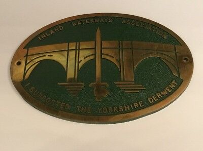 Vintage Yorkshire Derwent Inland Waterways Brass Green Enamel Plaque Barge Boat