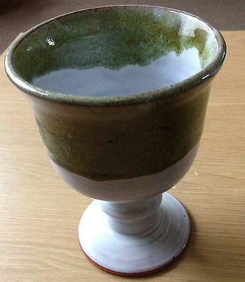 GOBLET Green & White Painted Pottery (Excellent Condition)