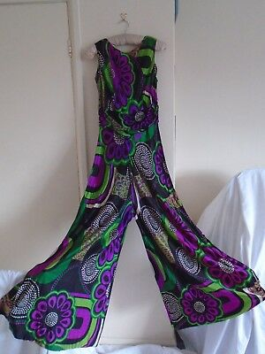 VTG1970s designer cat/jump suit psychedelic pattern loon pants in trend theatre