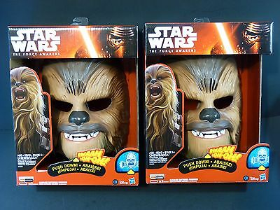 Star Wars The Force Awakens CHEWBACCA Electronic Mask Hasbro Lot of Two NEW!