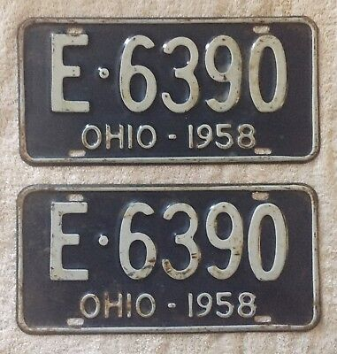 Good Solid Pair Of 1958 Ohio License Plates Lot Of 2. Free Shipping