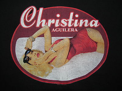 CHRISTINA AGUILERA BACK TO BASICS 2007 TOUR Black cotton t-shirt sz. Adult Small