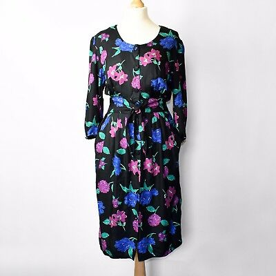 Vintage Black Dress 80s does 40s UK14 Medium Floral Purple Pink PinUp Rockabilly
