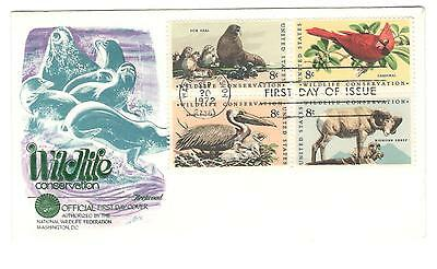 USA fdc x1 Scott 1467a Wildlife conservation 1972 Block of 4 dif. USA stamps