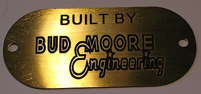 "Vintage Built By Bud Moore Brass Tag - 3"" X 1 3/8"""