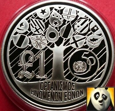 1995 CYPRUS £1 One Pound United Nations For Peace Silver Proof Crown Coin