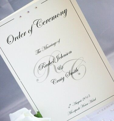 10 Order of Service rhinestones initials Covers or Booklets Personalised A5