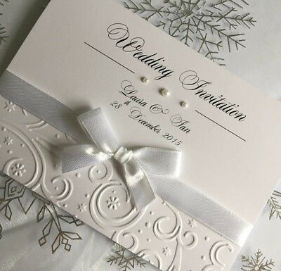 Wedding/Evening Invitations EMBOSSED winter swirl bow theme personalised