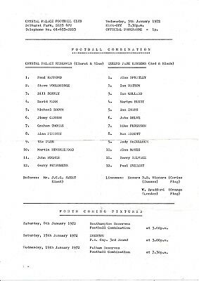 Crystal Palace Reserves v QPR (Combination) 1971/2