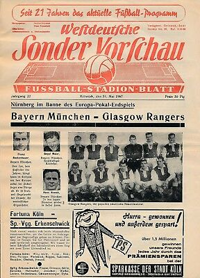 CUP WINNERS CUP FINAL 1967: Rangers v Bayern Munich - RARE Sonder Vorschau issue