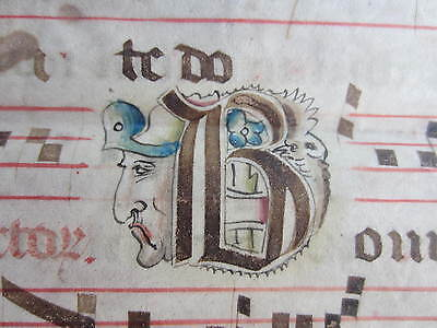 1490c-ANTIPHONARY FRANCE.FRANCIA.PARCHMENT.INCUNABULA.INCUNABLE ORIGINAL SHEET