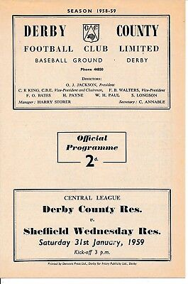 Derby Reserves v Sheffield Wednesday (Central League) 1958/9