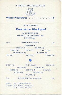 Everton Reserves v Blackpool (Central League) 1965/6
