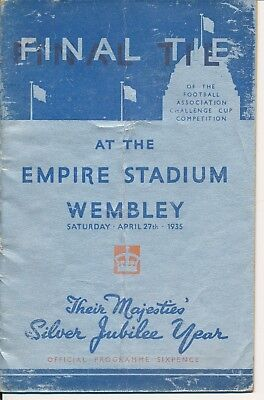 FA CUP FINAL PROGRAMME 1935 West Brom v Sheffield Wed