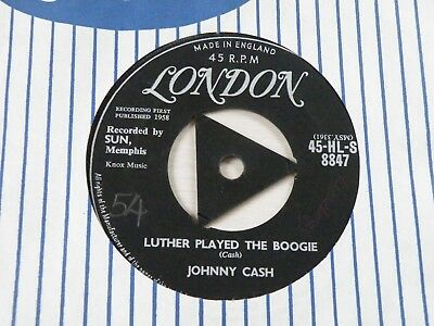 Johnny Cash Luther Played The Boogie 45 Uk London 1958 Silver Label Tri Centre