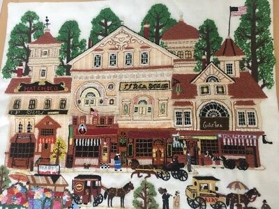 Completed USA Cross Stitch Cushion Cover Picture Vintage Scene Thanksgiving