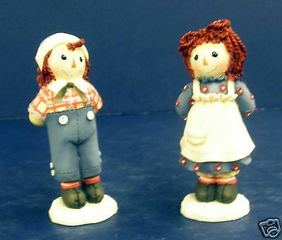 Enesco Raggedy Ann Figurines-New in Box-#709085-set of 2-Touch w/Love-Retired
