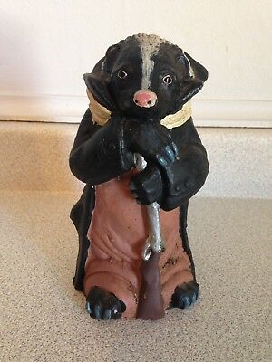 "Fantastic Vintage 7"" Marble Alabaster Gentleman Skunk With Shotgun Sculpture"